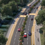 Render of road improvements on College Road, Crawley