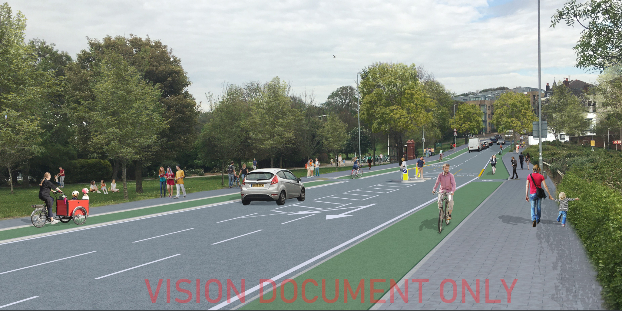 Illustration of a potential stepped cycle lane along Old Shoreham Road (A270) besides Hove Park